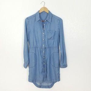 Athleta Blue Candid Chambray Shirt Dress - XS